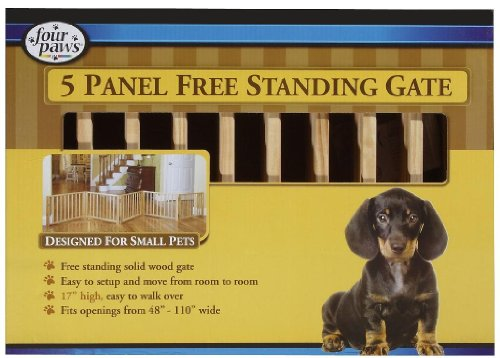 Four Paws 5-Panel Free-Standing Walk-Over 110-Inch-By-17-Inch Wood Gate