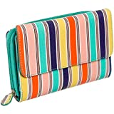 Mundi Women's Big Fat Wallet Organizer Clutch w/ Calculator (Aqua Stripe)