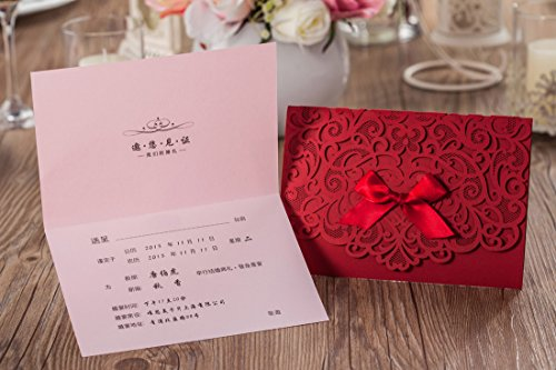 Wishmade 100x Elegant Red Laser Cut Wedding Invitation Cards Kits with Lace Bow Paper Cardstock for Bridal Shower Engagement Birthday Baby Shower Quinceanera(set of 100pcs) 6
