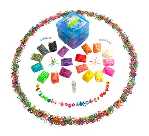 ☺5000pc Rainbow Colored Loom Bands Blue Box 3 Layered Organizer ☺ 16 Brilliant Colors, 150 Clips, 50 ABC Beads, 10 Charms, 3 Hooks, and 1 Mini Monster Loom Board! Make hundreds of unique rubber band bracelets with this one of a kind loom band case refill