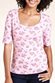 Pure Cotton Scoop Neck Ditsy Butterfly Print Top [T41-2656C-S]