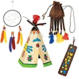 Native American Themed Craft Kits; 1 Imitation Leather Bookmark, 1 Native American Pouch Necklace, 1 Color Your Own Teepees & 1 Dream Catcher | Holiday Summer School Thanksgiving Activity Gift Set.