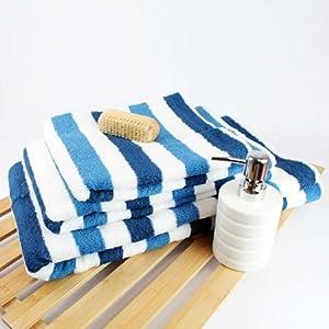 Miami Striped Towel Blue Bath Towel Amazon Co Uk