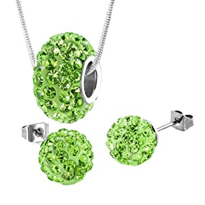 Pugster Sterling Silver Peridot Green Charm Set Swarovski Element Crystal Ball Necklace And Bead Stud Earrings 3 Pieces Choose Your Color
