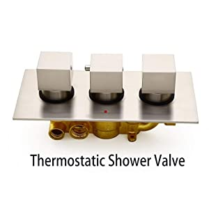 JiaYouJia 16 Inches Thermostatic Valve Square Ceiling-Mount Rain Shower Head & 6 Body Sprays & Handheld Shower System in Brushed Nickel