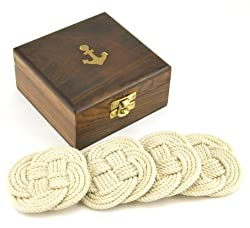 Sailors Rope Coaster Set, Nautical Anchor Cherry Wood Box Holder, 4.75-inch