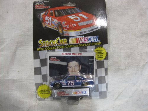 NASCAR #75 Butch Miller Food Country USA Racing Team Stock Car With Driver's Collectors Card And Display Stand. Racing Champions Black Background Red Series 51 Car - 1