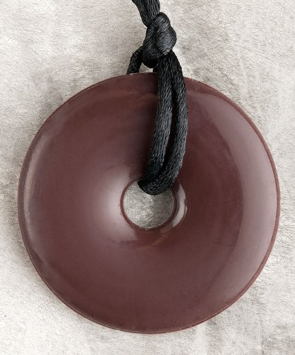 Teething Bling Dark Brown Donut Shaped Pendant - 1