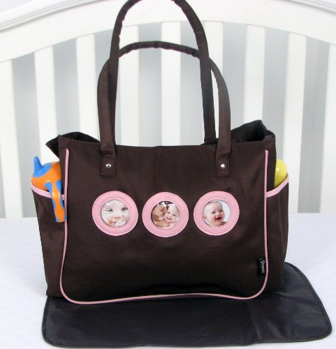 Soho Your Cute Pictures Diaper Bag With Changing Pad 2 Pieces Set (Pink And Brown) front-495287
