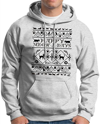 Happy Meow A Days Ugly Christmas Sweater With Cats Hoodie Sweatshirt Medium Ash