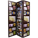 STUNNING 3 WAY FOLDING APERTURE SHABBY CHIC VINTAGE STYLE MULTI PHOTO FRAME FAMILY 39 PHOTOS GREAT FOR HOME BEDROOM OFFICE COLLAGE - WOULD MAKE A EXCELLENT GIFT (Brown)