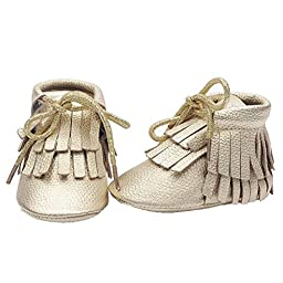 Mosunx Toddler Infant Baby Winter Cute Boots Tassel Leather Shoes (12, Gold)