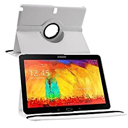 Galaxy Note 10.1 SM-P601 Case, Stand Flip Cover 360 Degree Series PU Leather Premium 360 Degree Rotating Stand Flip Cover With auto wake sleep (White)