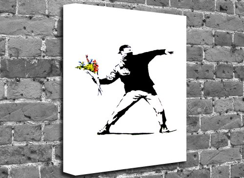 "Banksy - Flower Thrower (Portrait) Street Stencil Art Canvas Art Canvas Print Picture print Size: (24"" x 16"")"