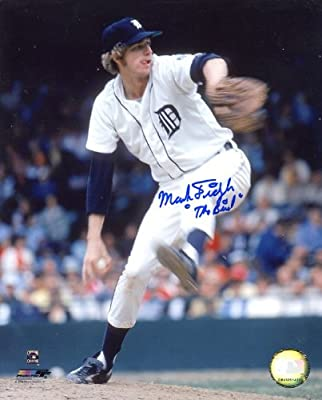 "Mark ""The Bird"" Fidrych (D. 2009) Autographed/ Original Signed 8x10 Color Photo Showing Him Pitching for the Detroit Tigers"