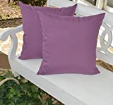 "Set of 2 Pillow Covers - Indoor / Outdoor 20"" Square ~ Lilac/ Lavender / Light Purple Solid Decorative Pillow Covers"