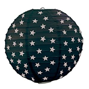 Beistle 3-Pack Star Paper Lanterns, 91/2-Inch, Black and Silver