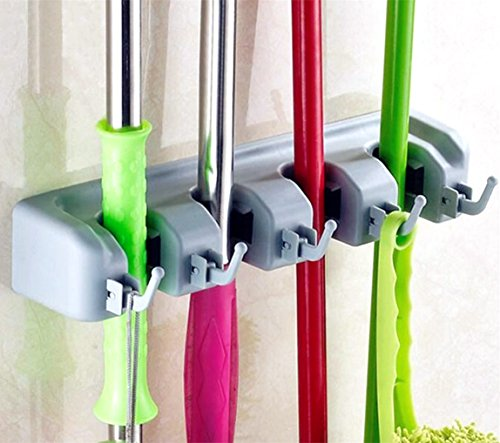 MelonBoat Mop Broom Holder, Wall Closet Door Mount, Tools Storage Organizer, 4 Positions with 5 Hooks Gray (Door Broom Holder compare prices)