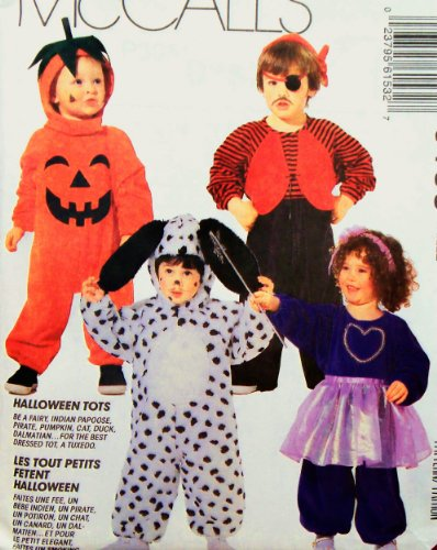 OOP McCall's Costume Pattern 6153. Toddler Sz 2 Dalmation/dog; Fairy; Pirate; Pumpkin; Tiger; Duck; Papoose; Groom (Wearing Tuxedo)