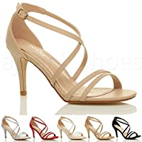Womens ladies mid low high heel strappy crossover party wedding prom sandals shoes size by Ajvani