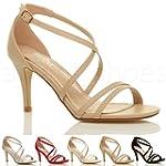 Womens ladies mid low high heel strap...