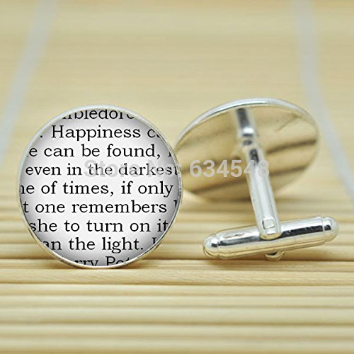 Pretty Lee Harry Potter Happiness Can Be Found Reader In Silver Cufflinks Glass Cabochon Cufflinks C3758