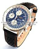 20mm Rally Perforated Leather Watch strap contrast Orange stitching for Breitling Navitimer