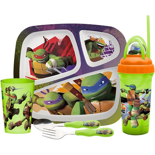 Teenage Mutant Ninja Turtles Plate Fork Spoon Water Bottle Cup 5 Piece Set Tmnt front-919853