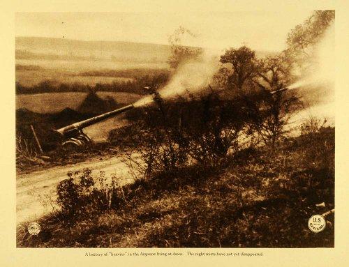 1920 Rotogravure WWI Heavies Field Artillery Weapons Cannon Meuse Argonne Battle - Original Rotogravure