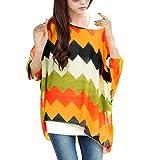 Allegra K Ladies Pullover Batwing Sleeve Zigzag Pattern Oversize Shirt