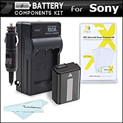 Battery And Charger Kit For Sony Alpha a6000 a5000 Alpha 7 a7 a7K a7R Interchangeable Lens SLR Camera Includes Extended Replacement (2200Mah) NP-FW50 Battery + Ac/Dc Rapid Travel Charger + MicroFiber Cloth + More