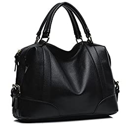 Hynes Victory Womens Luxury Hobo Handbag (Black)