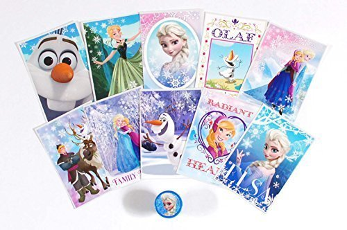 Disney Frozen Stickers Complete Set of 10 Vending Stickers (Includes Princess Anna, Queen Elsa, Olaf, Kristoff and Sven) + 1 Bonus Frozen Self Inking Stamper - 1