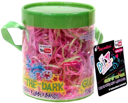 Expressions D.I.Y. 1200 Pink & Green GLOW-in-the-DARK Latex-free Rubber Band Bracelet Refill Loom Pack - 1