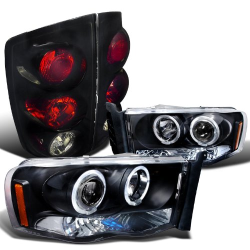 Dodge Ram Black Projector Halo Led Headlights, Glossy Black Altezza Tail Lights