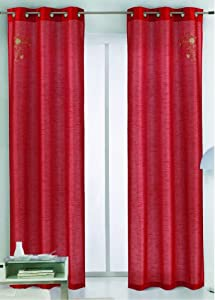 RT Designers Collection RT Designers Collection Emma Window Curtain Panel, 40-Inch by 84-Inch, Red, 2-Pack