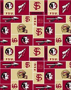 college florida state university seminoles 012 fleece fabric print by the yard. Black Bedroom Furniture Sets. Home Design Ideas