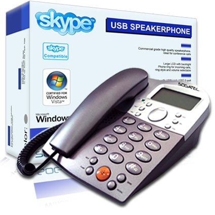 Sogatel - Skype compatible USB desktop speaker desk phone - LCD screen - Windows 7, Vista, XP picture
