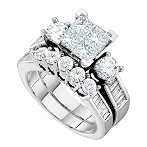 14k White Gold Quad Princess Invisible-set Diamond Womens Wedding Bridal Ring Set 1.50 Cttw