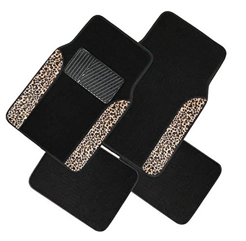 Two Tone 4 Piece Animal Print Floor Mats (Black and Brown Cheetah) (Car Mats Brown compare prices)