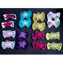 30 Dog Hair Bows 2 inch size - 3D with Shiffon Flower & Beads - Excellent for Girl Doggies!!!-handmade for Grooming
