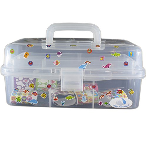 arts and crafts organizer storage box with stickers. Black Bedroom Furniture Sets. Home Design Ideas