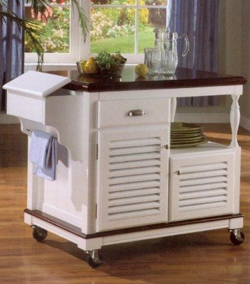 Image of White With Cherry Finish Kitchen Cart (B0017DQCBU)