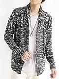 (モノマート) MONO-MART ショール襟 カーディガン 起毛 ケーブル編み ゆる コーディガン モード デザイナーズ メンズ 杢ブラック Lサイズ