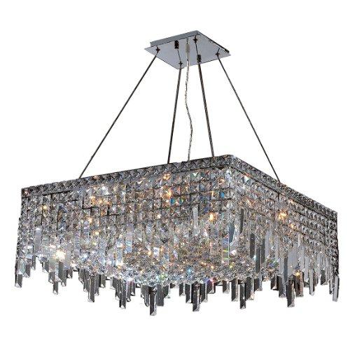 Worldwide Lighting W83613C24 Cascade 12 Light Chrome Finish With Clear Crystal Chandelier