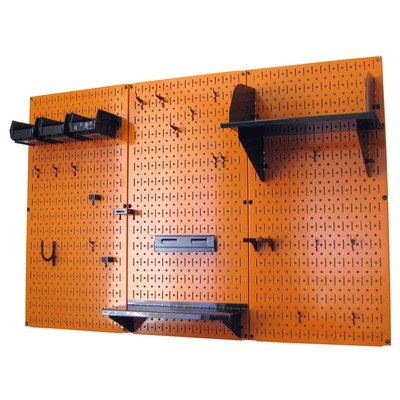 Wall Control 4ft Metal Pegboard Standard Tool Storage Kit - Orange Toolboard & Black Accessories