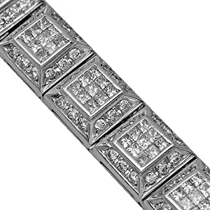 14K White Gold Mens Diamond Bracelet 21.77 Ctw