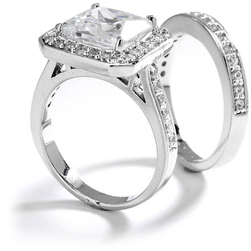 5 Carat Princess Cushion Cut Grade AAAAA CZ Engagement Ring & Band Set. 18K White Gold Plated  Size 7 Picture