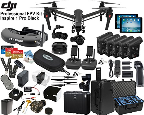 "DJI Inspire 1 Pro Quadcopter Black Edition with FPV ""Eagle Eye"" Package: Includes 2 Controllers, 2 iPads, FATSHARK Attitude V2 FPV Goggles, Osmo Handle Kit, 4x TB48 Batteries and more..."