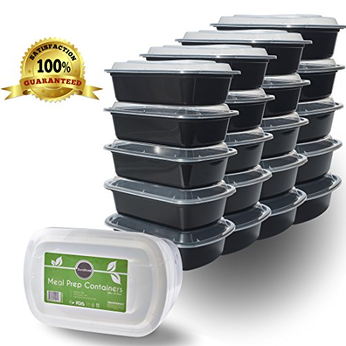 Meal Prep Containers with Lids 38oz. Rectangular Microwaveable Reusable Black Plastic Food Storage Container, Set of 20 Premium Quality - DuraHome™ (Restaurant Prep Containers compare prices)
